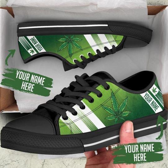 [Top-selling] custom your name marijuana leaf full printing low top shoes - maria
