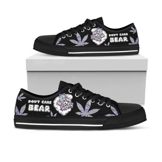 [Top-selling] dont care bear weed leaf full printing low top shoes - maria