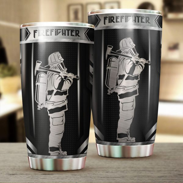 [Top-selling] firefighter metal all over print stainless steel tumbler - maria