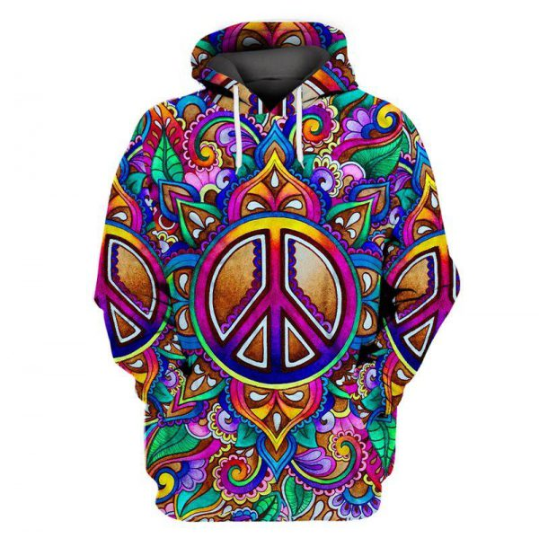 [Top-selling] hippie colorful peace sign all over printed shirt - maria