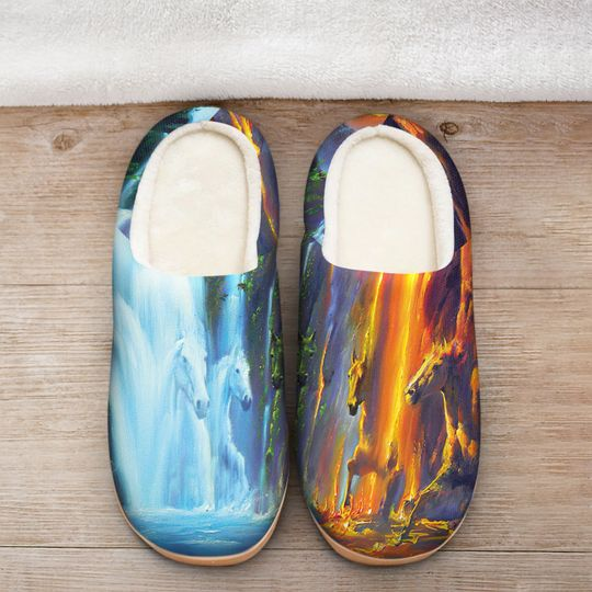 [Top-selling] horse ice and fire colorful all over printed slippers - maria