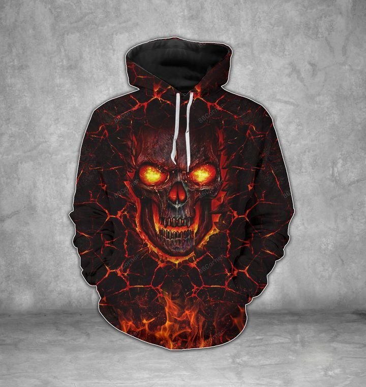 [Top-selling] lava skull on fire all over printed shirt - maria