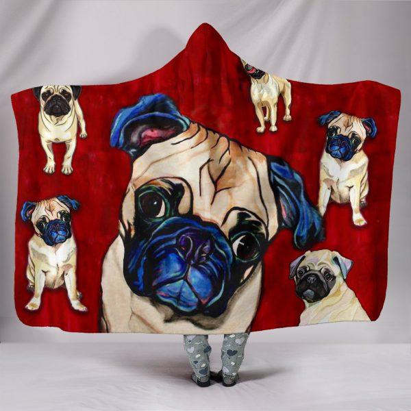 [Top-selling] pug dog lover full printing hooded blanket - maria