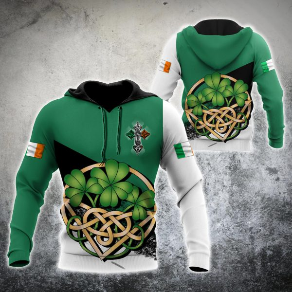 [Top-selling] saint patricks day shamrock celtic cross all over print shirt - maria