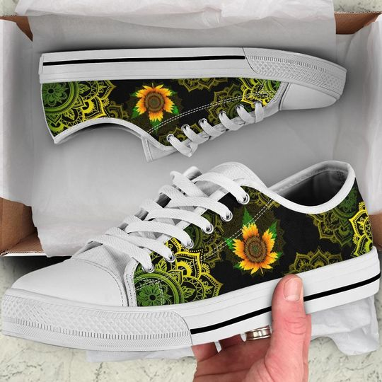 [Top-selling] sunflower weed leaf mandala canvas low top shoes - maria