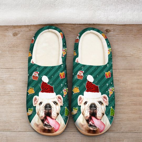 [Top-selling] the bulldog with santa hat all over printed slippers - maria
