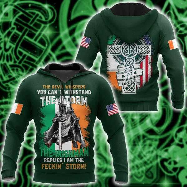 [Top-selling] the devil whispers you can't withstand the storm the irishman replies i am the feckin storm shirt - maria