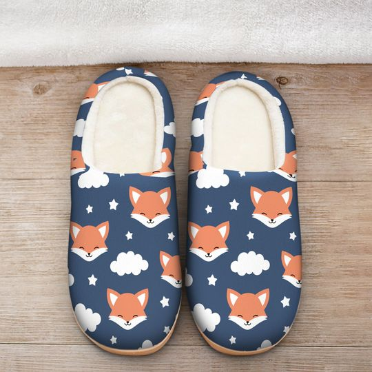 [Top-selling] the fox face all over printed slippers - maria