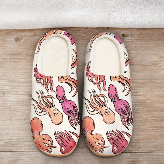 [Top-selling] the octopus pink all over printed slippers - maria