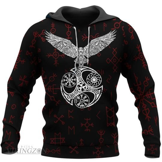 [Top-selling] viking raven and rune all over printed shirt - maria