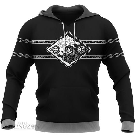 [Top-selling] viking symbol wolf all over printed shirt - maria