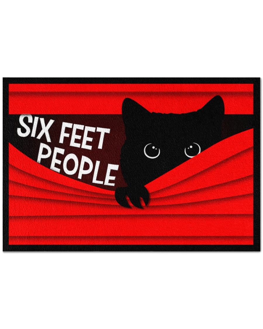 [special edition] vintage black cat six feet people all over print doormat - maria