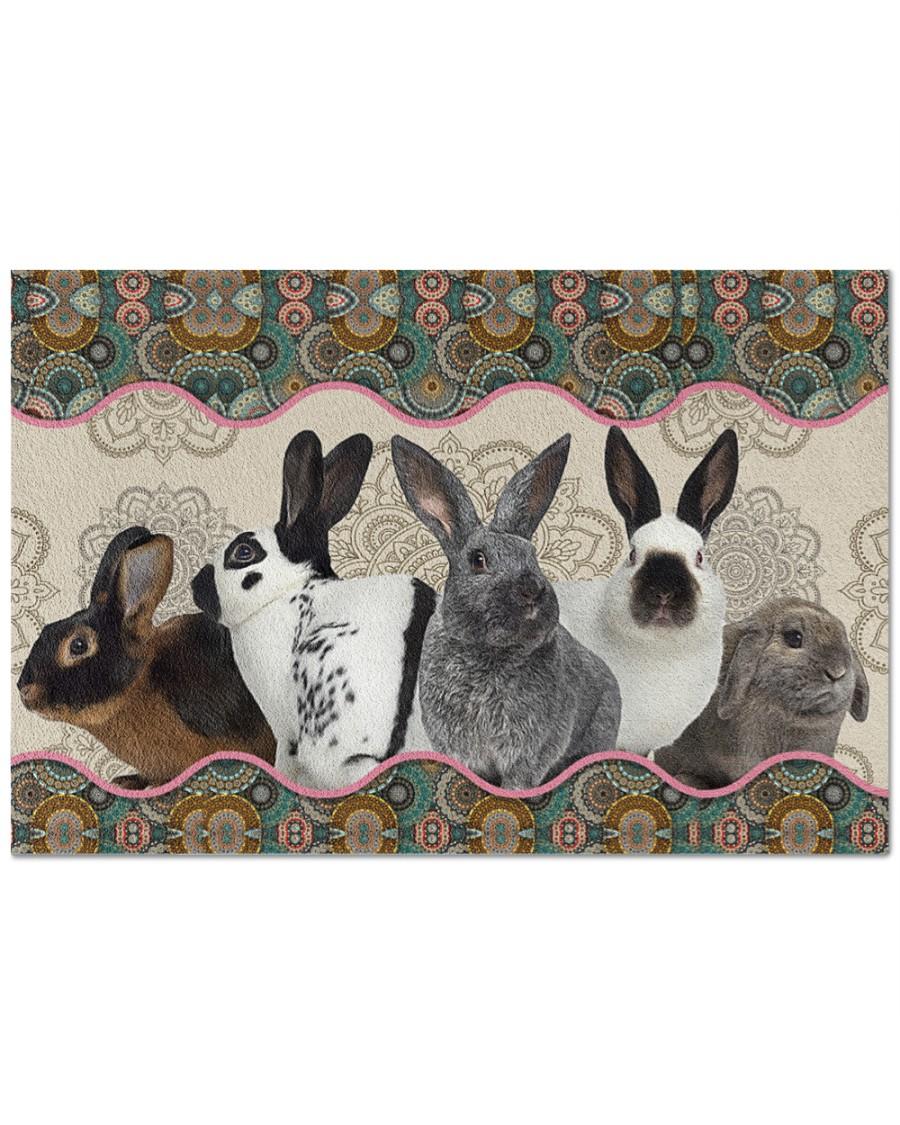 vintage mandala rabbit full printing doormat - maria