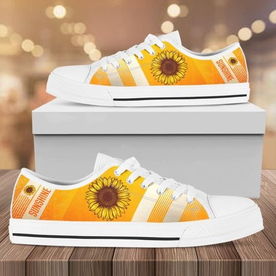 [Top-selling] vintage sunflower canvas full printing low top shoes - maria