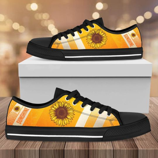 [Top-selling] vintage sunflower full printing low top shoes - maria