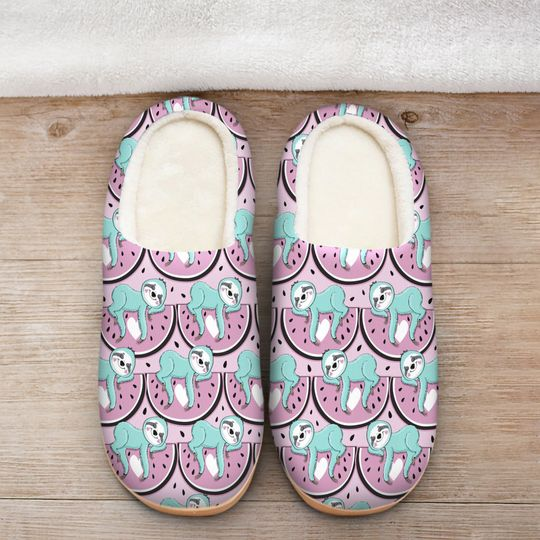 [Top-selling] watermelon and sloth all over printed slippers - maria