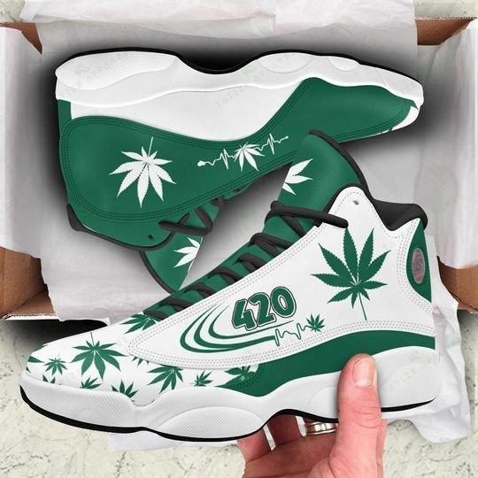 [Top-selling] weed leaf 420 heartbeat all over printed air jordan 13 sneakers - maria