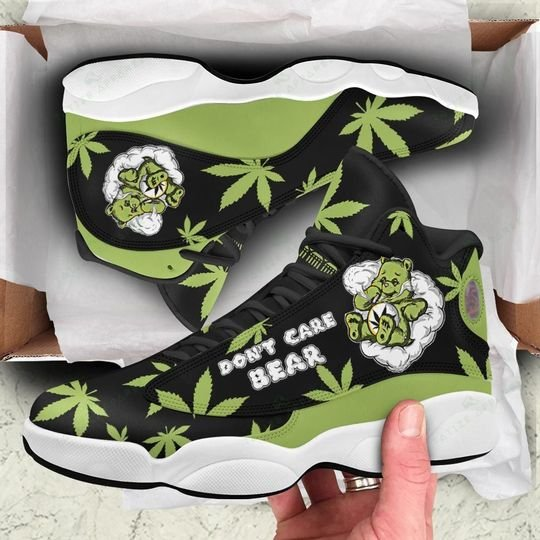 [Top-selling] weed leaf dont care bear all over printed air jordan 13 sneakers - maria