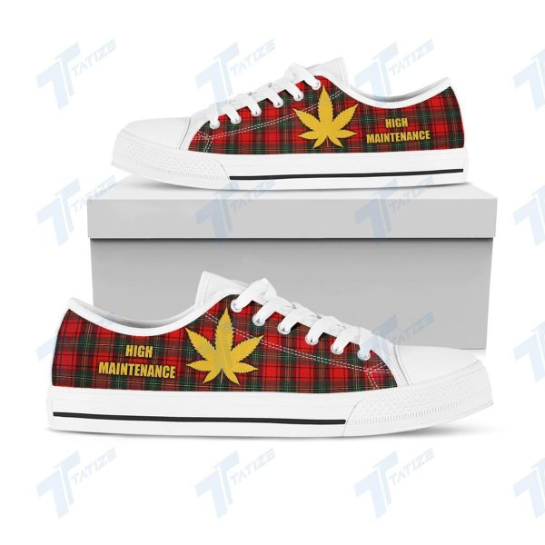 [Top-selling] weed leaf high maintenance full printing low top shoes - maria