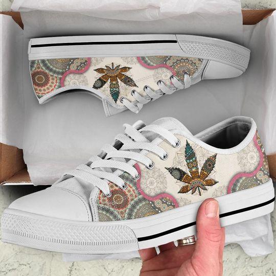 [Top-selling] weed leaf mandala full printing low top shoes - maria