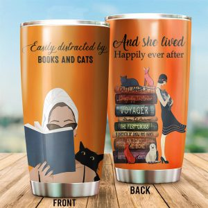 Easily distracted by cats and books tumbler