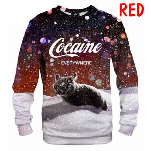 Let It Snow Cat 3d All Over Printed Sweatshirt - red