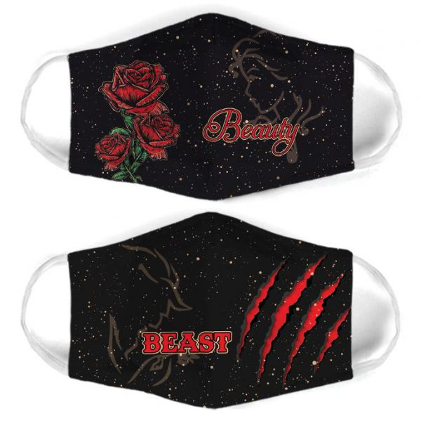 [special edition] beauty and the beast for couple love all over print face mask - maria
