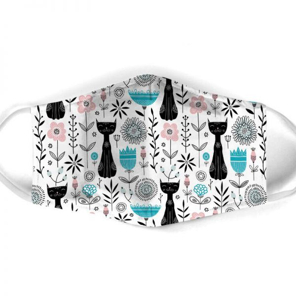 [special edition] black cat pattern all over print face mask - maria