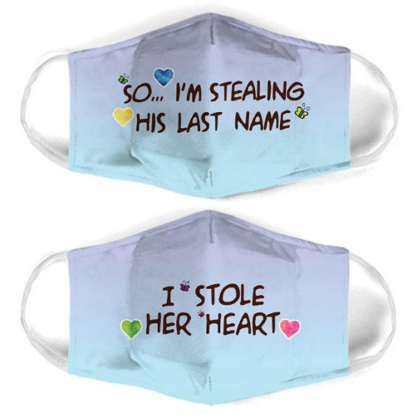 [special edition] couple love so im stealing his last name all over print face mask - maria