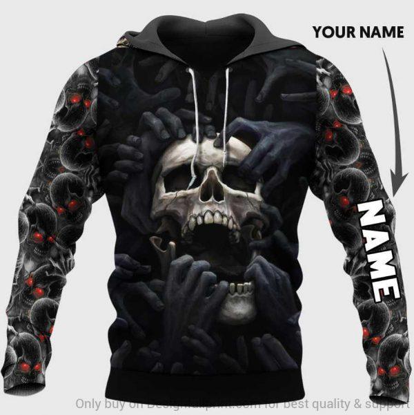[Top-selling] custom name skull red eyes screaming full over printed shirt - maria