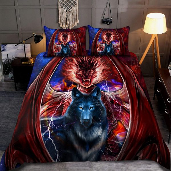 [Top-selling] dragon and wolf all over print bedding set - maria