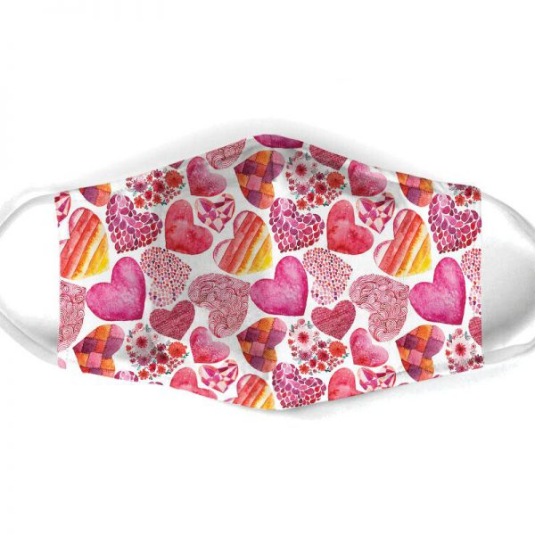 [special edition] heart pattern all over print face mask - maria