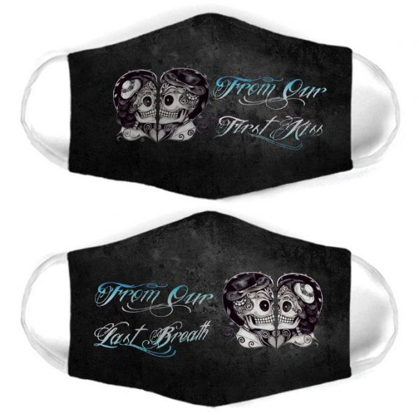 [special edition] skull couple from our first kiss all over print face mask - maria