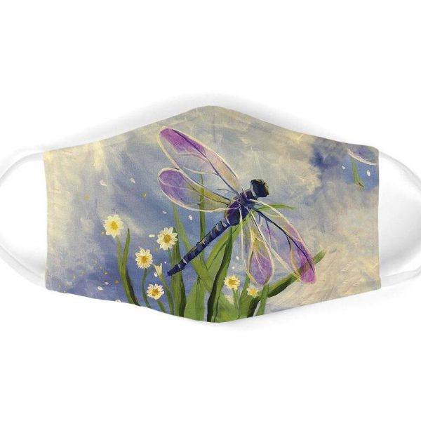 [special edition] watercolor flower and dragonfly all over print face mask - maria