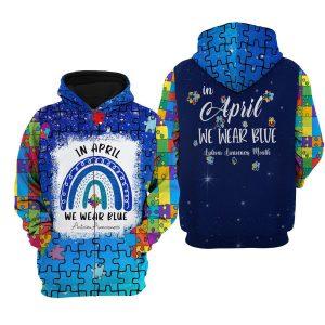 Autism awareness In April we wear blue 3d zip hoodie