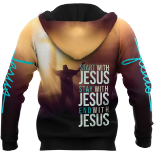 Easter start with jesus stay with jesus end with jesus 3D all over printed hoodie  - Hothot 110321