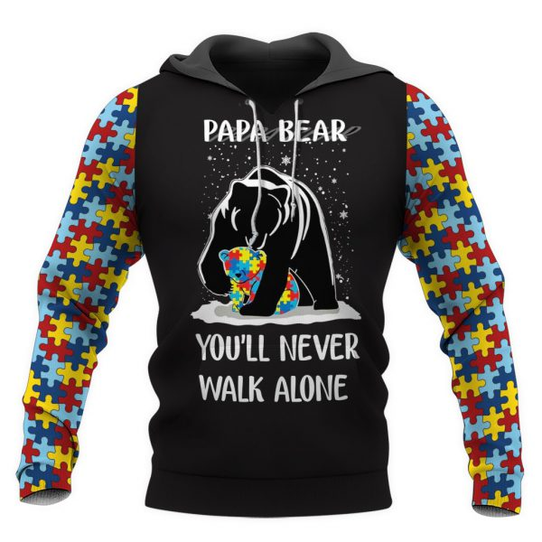 [Top-selling] Papa bear autism awareness full over print shirt - maria