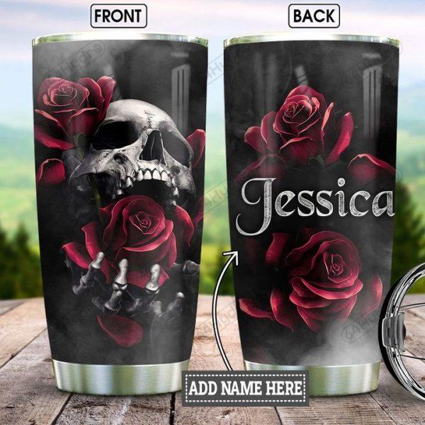 Personalized Skull Rose Stainless Steel Tumbler