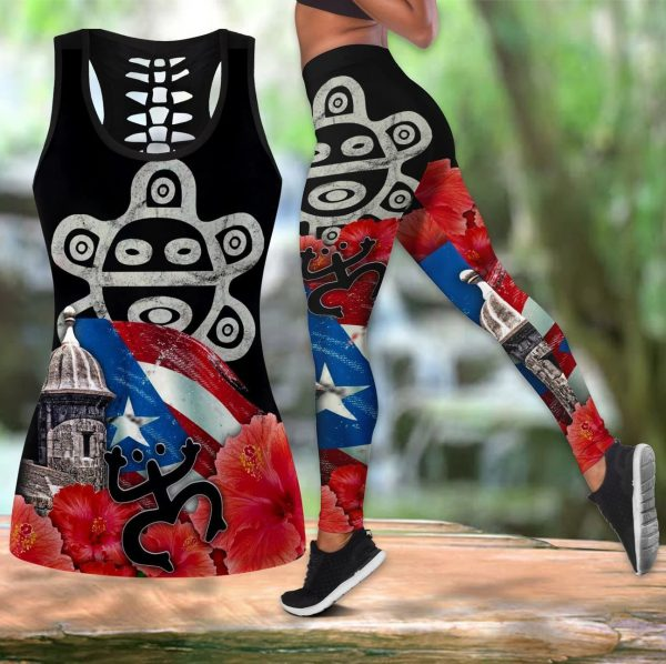 Puerto Rico Sol Taino Lover Legging and hollow tank top