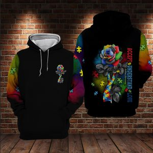 Rose autism accept understand love 3d hoodie