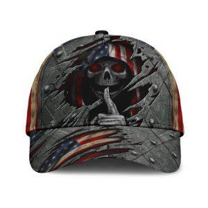 Skull American Flag 3D Cap