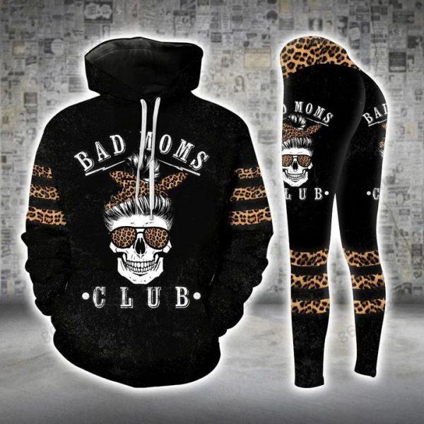 Skull bad moms dark 3D hoodie and legging