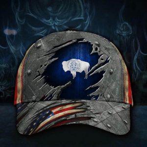 Wyoming state flag patriotic cap
