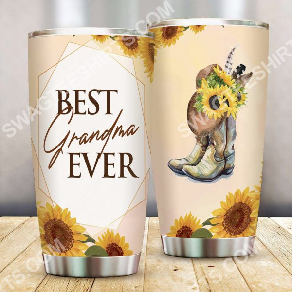 [Top-selling] best grandma ever sunflower all over printed stainless steel tumbler - maria