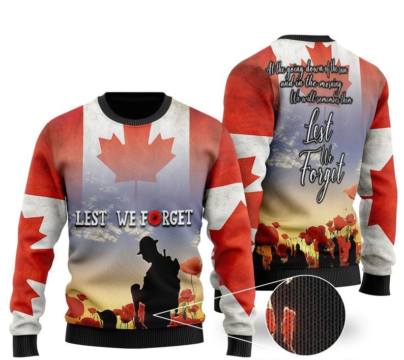 [Top-selling] canadian veterans lest we forget all over printed ugly christmas sweater - maria
