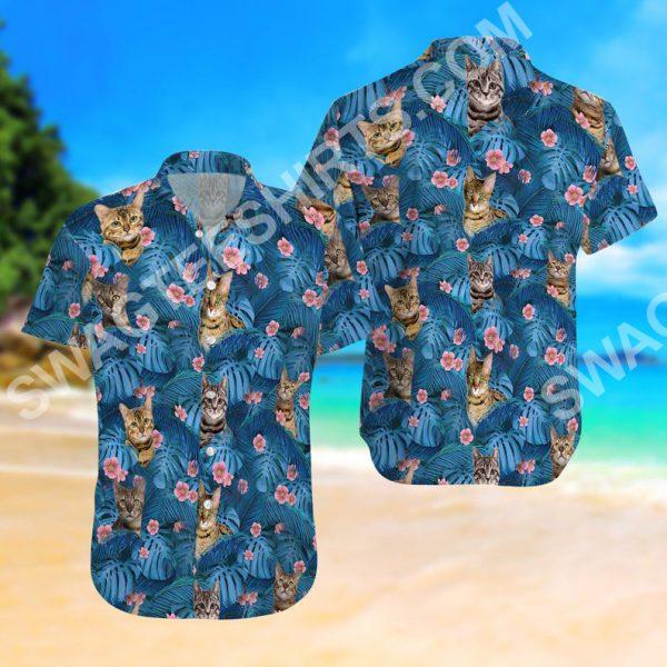 [Top-selling] cat summer vacation all over printed hawaiian shirt - maria