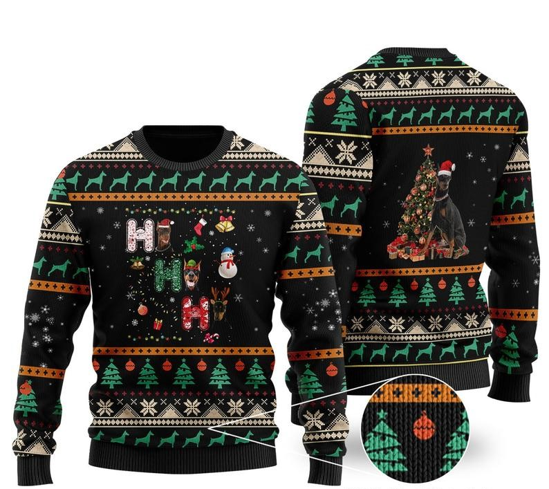 [Top-selling] christmas time doberman all over printed ugly christmas sweater - maria