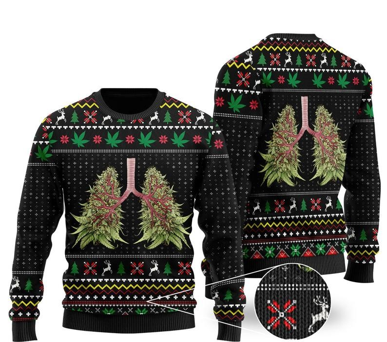 [Top-selling] christmas time lung tree all over printed ugly christmas sweater - maria
