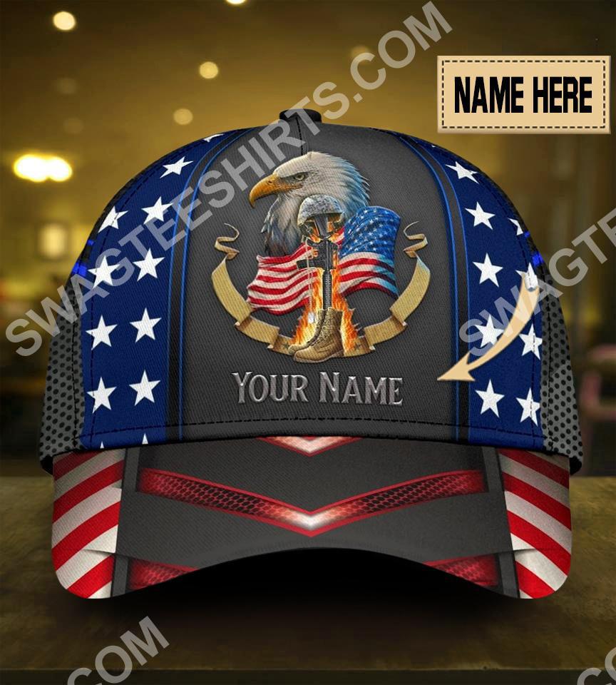 [Top-selling] custom name eagle american veteran all over print classic cap - maria