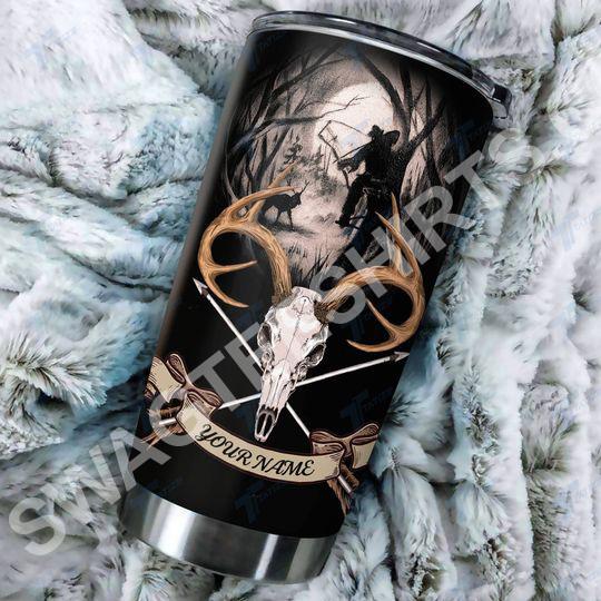 [Top-selling] custom name hunting cross arrow elk skull all over printed stainless steel tumbler - maria